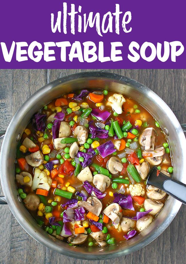 Vegan veggie soup in a pot
