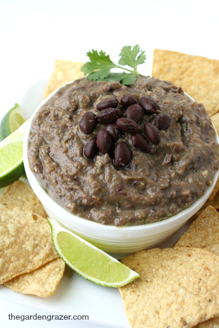 Vegan black bean avocado dip in a bowl with chips for dipping