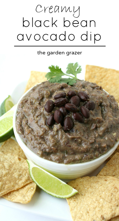 Creamy avocado black bean dip in a bowl