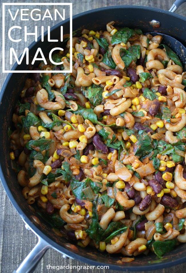 Vegan chili mac photo collage