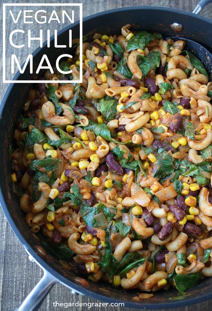 Vegan chili mac in a skillet