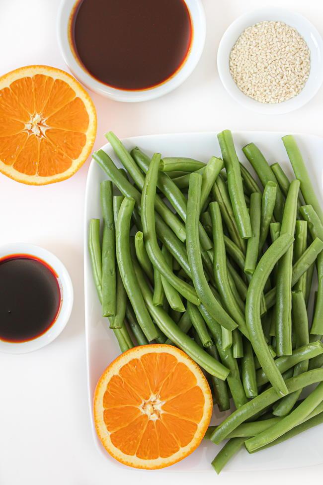Ingredients for hoisin orange roasted green beans