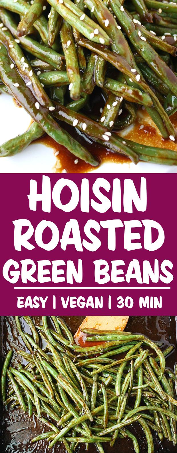 Vegan hoisin roasted green beans photo collage