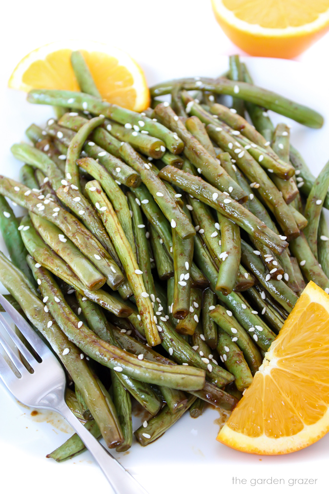 Hoisin orange roasted green beans on a plate