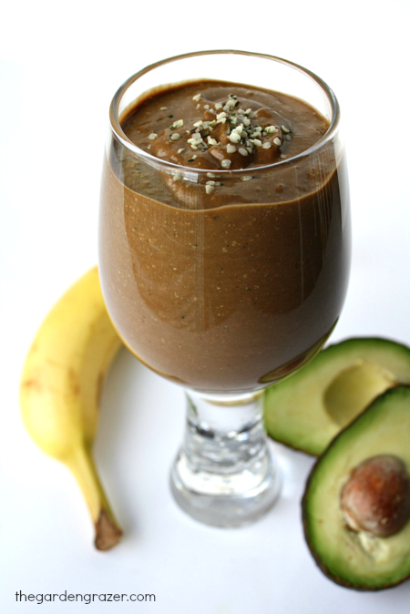 Vegan chocolate hemp power smoothie with banana in a glass