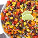 Black Bean Corn Salsa in a bowl with tortilla chips