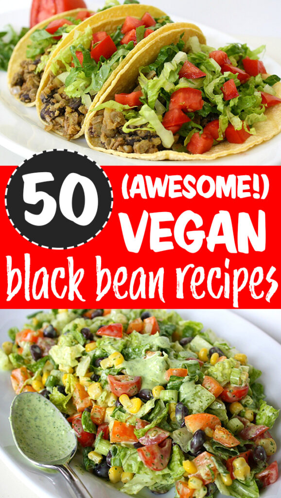 photo collage of vegan black bean recipes roundup