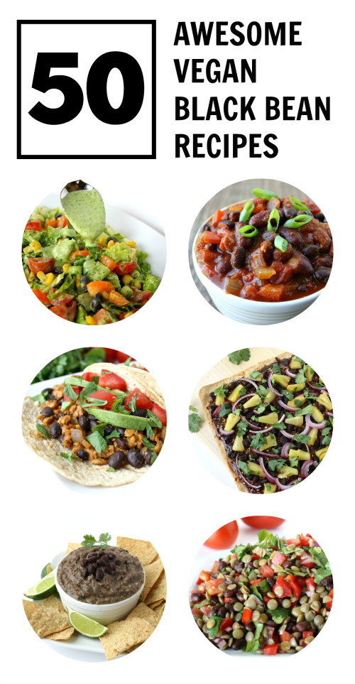 Collage of an assortment of vegan black beans recipes