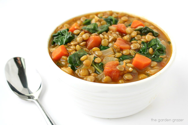 bowl of lentil soup with a spoon