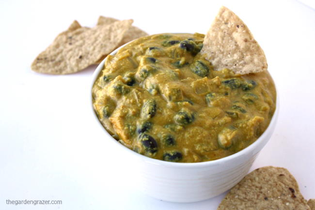 Vegan black bean cashew queso in a small white bowl with chips
