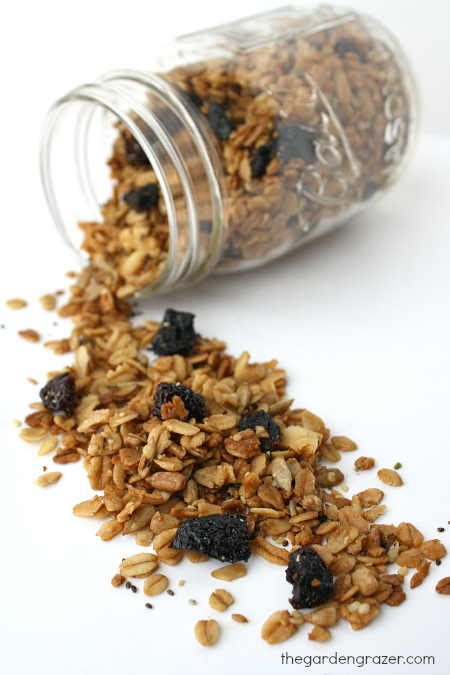 Vegan seed granola spilling out of a jar
