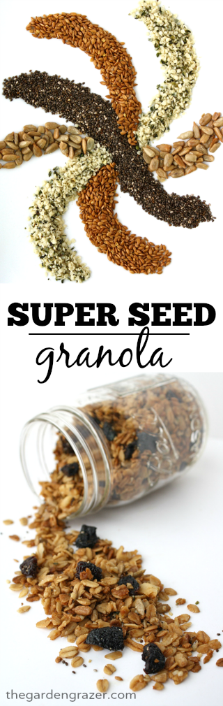 Vegan super seed granola photo collage