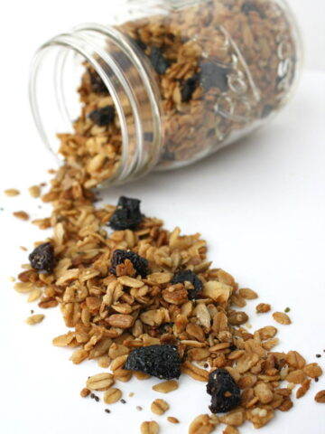 Homemade granola with seeds in a small jar