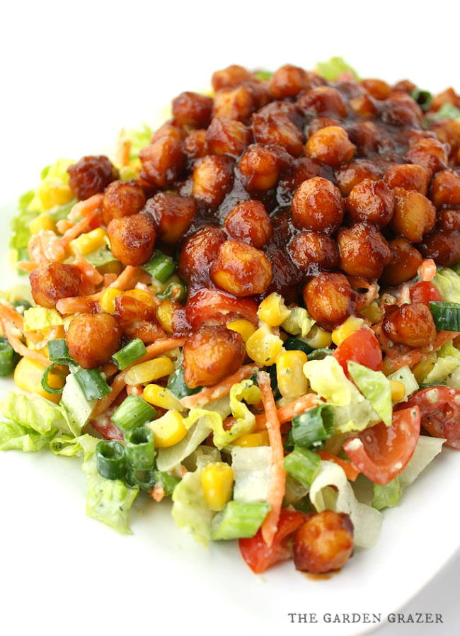 Plate of BBQ chickpea salad with vegan avocado ranch dressing