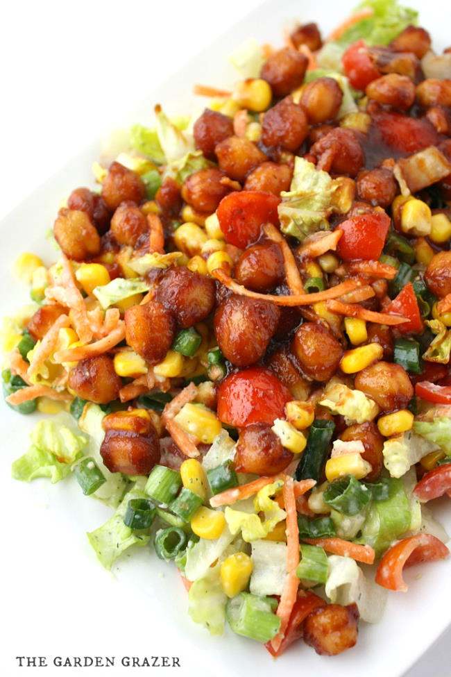 BBQ chickpea chopped salad on a plate