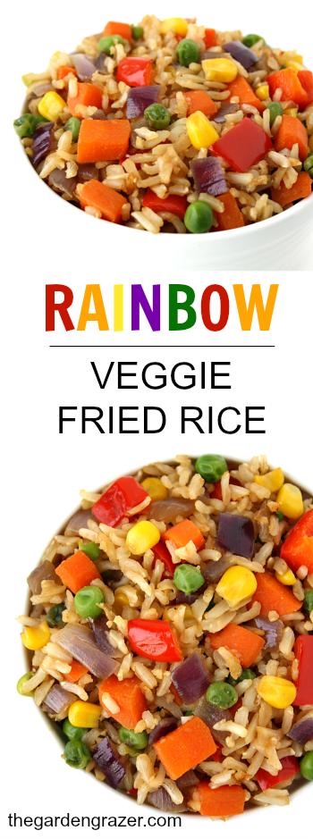 Rainbow veggie fried rice photo collage
