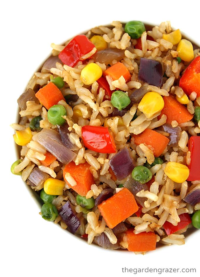 Rainbow veggie fried rice in a bowl