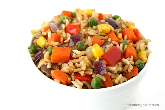 Vegan fried rice with rainbow vegetables in a white bowl