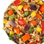Vegan veggie fried rice in a small white bowl