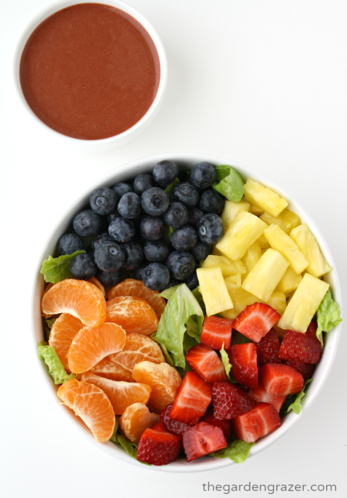 Fresh fruit salad in a bowl with strawberry dressing on the side