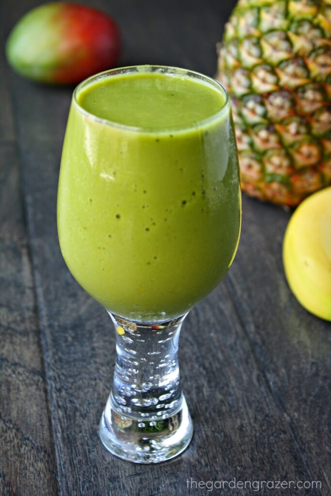 Tropical matcha smoothie in a glass