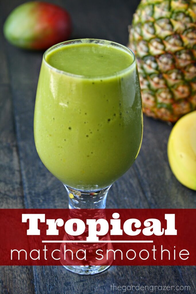 Vegan creamy tropical matcha smoothie in a glass