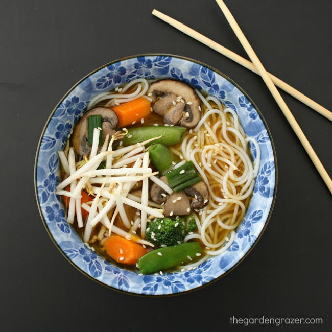 Asian style vegetable noodle soup in a bowl with chopsticks on the side