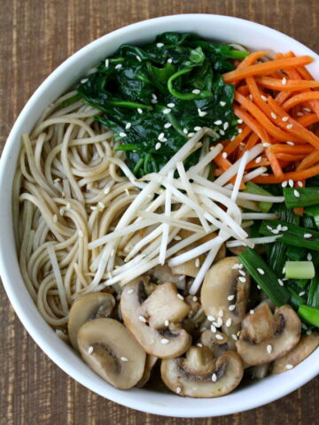 Bowl of Asian-style Noodle Soup with mushrooms and carrots