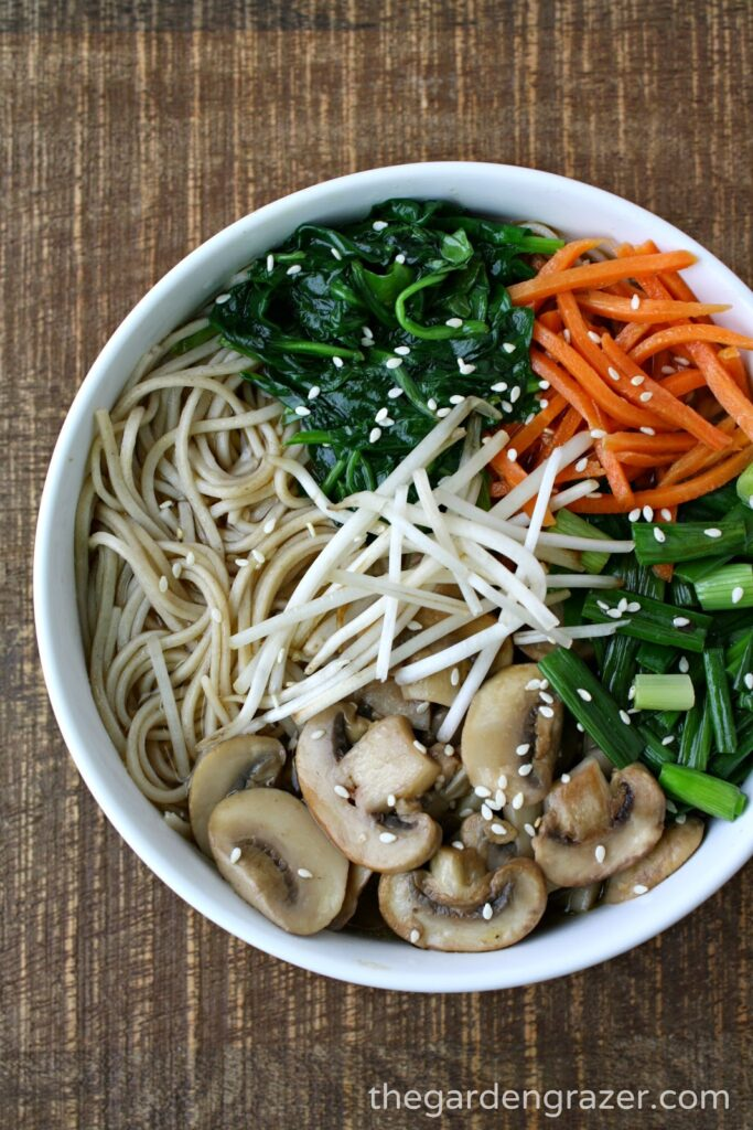 Bowl of Asian Noodle Soup with mushrooms and carrots