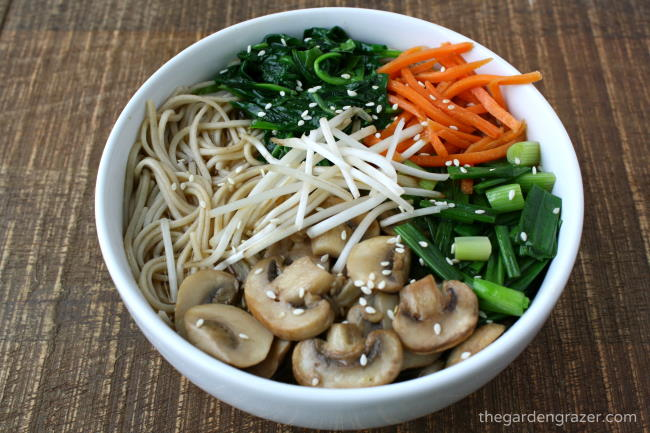 Vegan Asian-inspired noodle soup in a white bowl