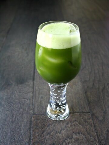 Glass of matcha green tea with ice