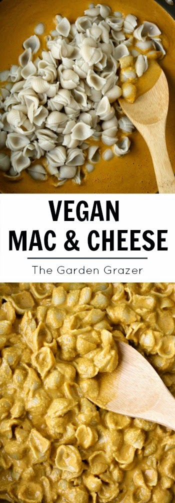 Vegan mac and cheese photo collage