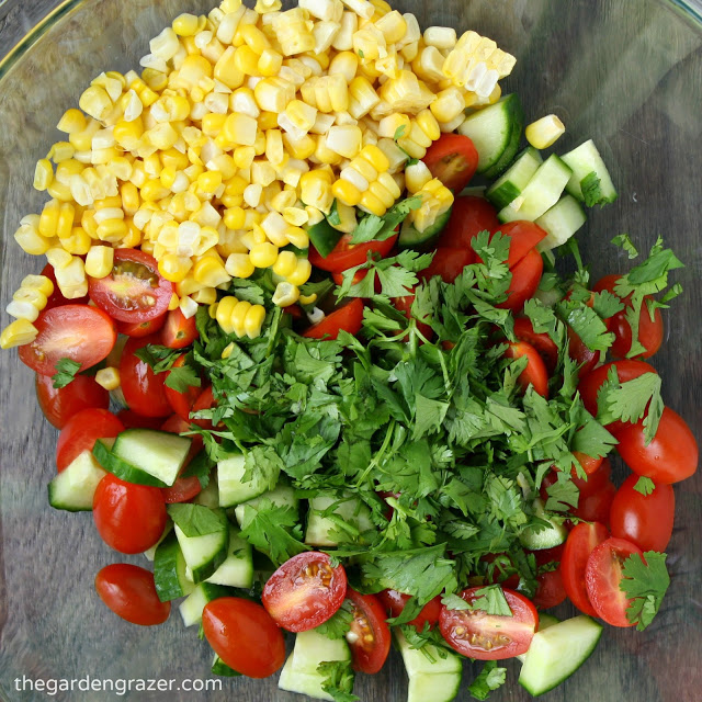 Ingredients for summer blast salad in a bowl