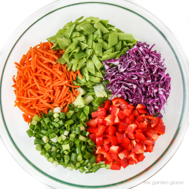 ingredients for Asian Chopped Salad in a bowl