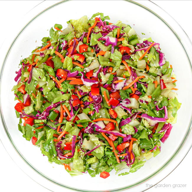 Bowl of colorful chopped salad with sesame seeds