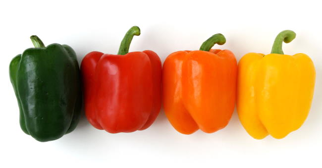 Four colorful, fresh bell peppers