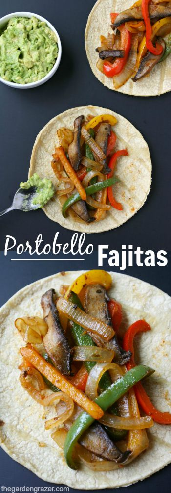 Photo collage of portobello fajitas