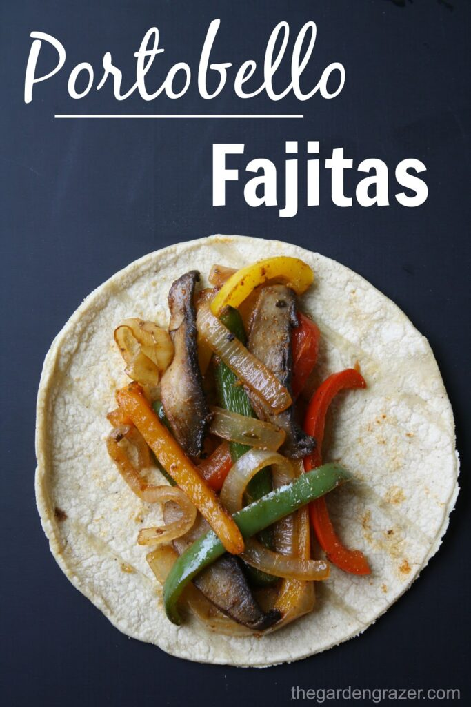 Vegan mushroom fajitas on a corn tortilla