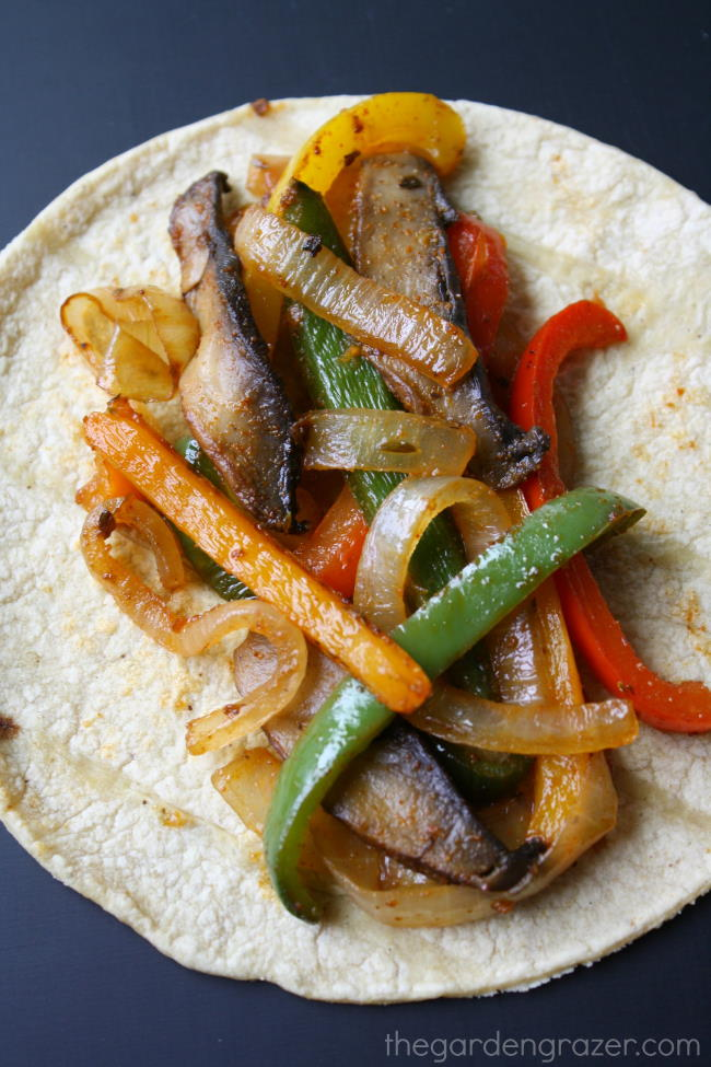 Vegan portobello mushroom fajitas on a corn tortilla