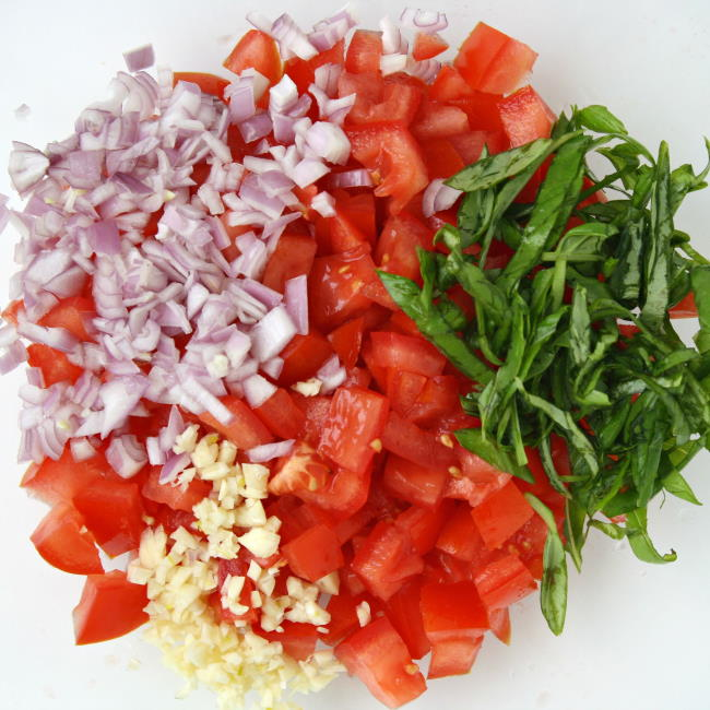 Ingredients in a bowl for pasta