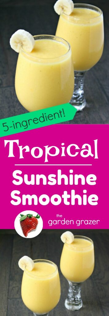 Tropical sunshine smoothie photo collage