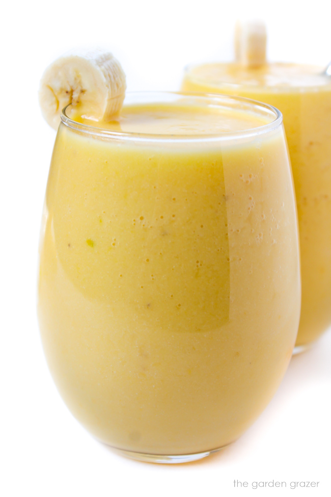 Glasses of vegan tropical smoothies