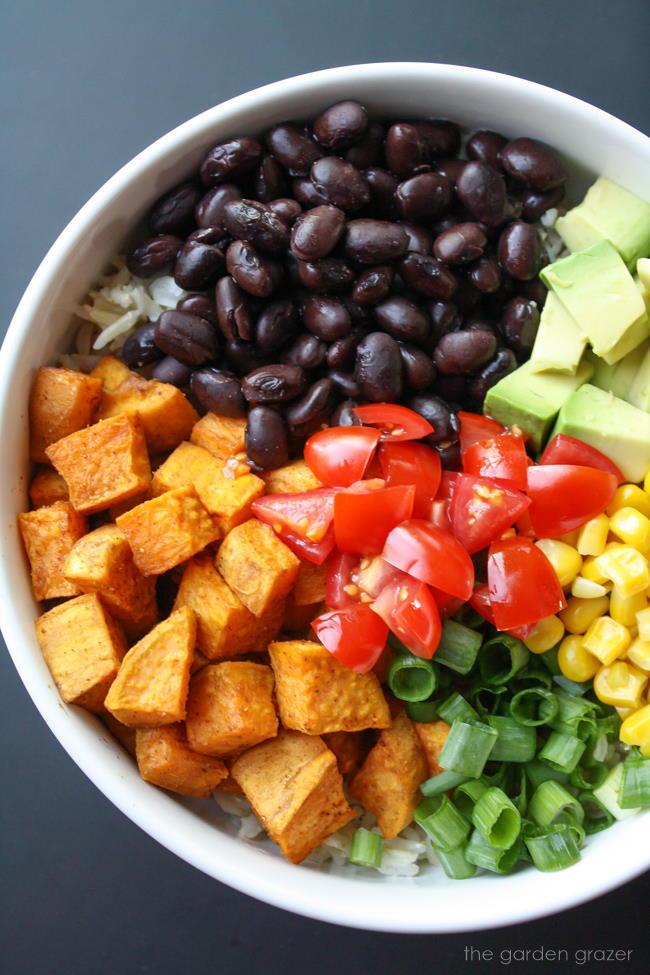 Ingredients for vegan black bean rice bowl with sweet potato