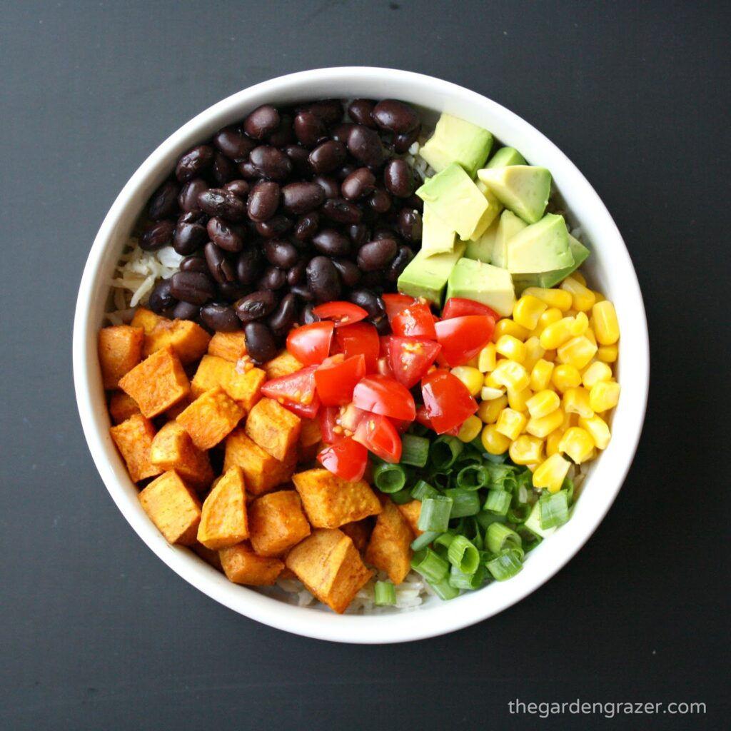 Ingredients for vegan black bean rice bowl with sweet potato