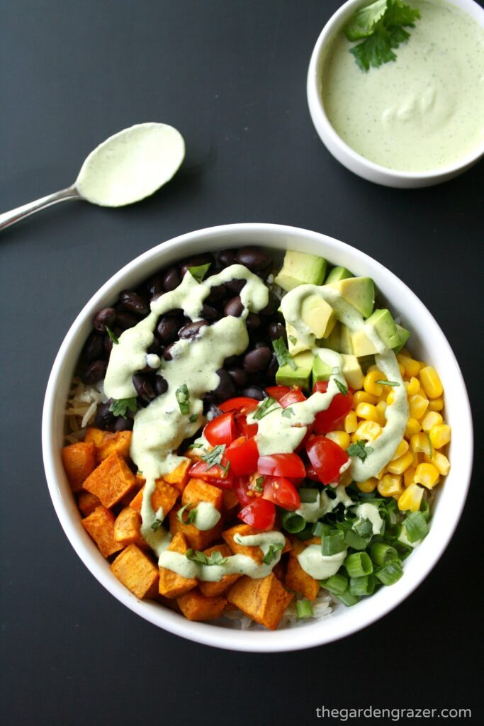 Vegan Sweet Potato Bowl with cilantro cashew dressing