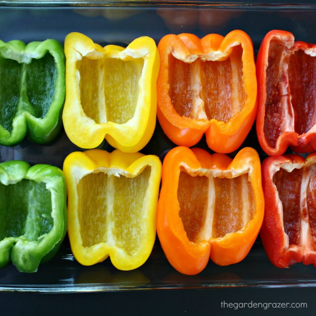 Colorful bell pepper halves ready to be stuffed