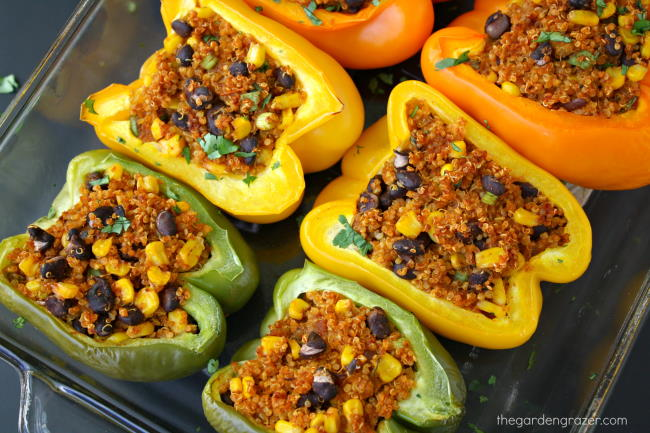 Pan of baked Mexican Quinoa Stuffed Peppers with cilantro