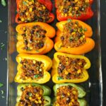 Pan of baked Mexican Quinoa Stuffed Peppers