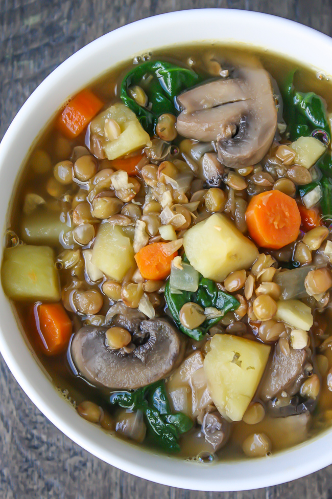 Vegan rustic lentil potato soup in a bowl