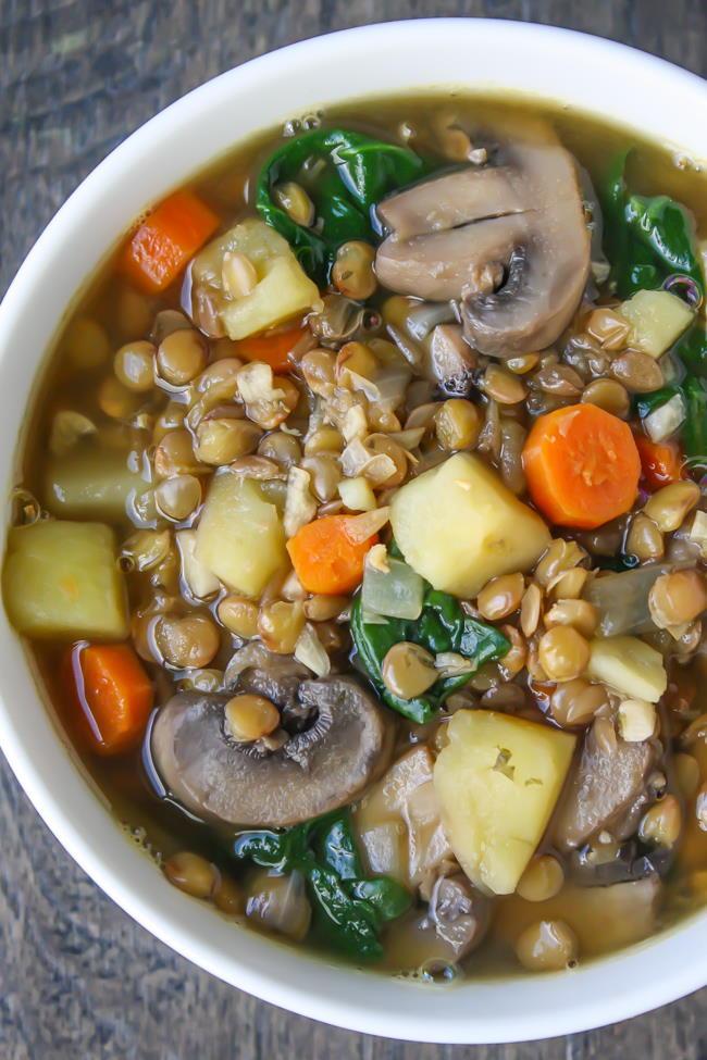 Vegan rustic lentil potato soup in a bowl